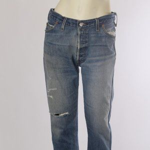 RE/DONE Blue Denim Ripped Straight Jeans